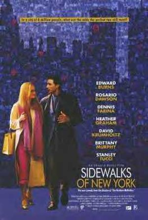 Sidewalks of New York (2001 film) - Original theatrical release poster featuring the World Trade Center towers. The towers were removed in later posters.