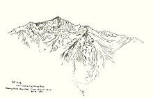 Line drawing by Bolton Brown depicting Mount King from a distance