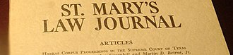 St. Mary's University School of Law - The first issue of the St. Mary's Law Journal