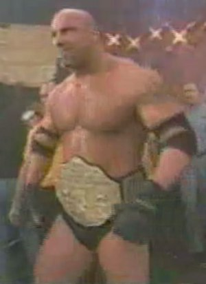 Starrcade (1998) - Goldberg, the WCW World Heavyweight Champion, before his match at Starrcade