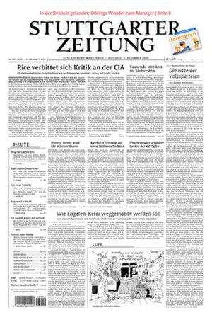 Stuttgarter Zeitung - Image: Stuttgarter Zeitung front page