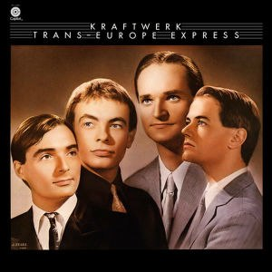 Retrofuturism - Original 1977 cover to the Kraftwerk album Trans-Europe Express (U.S. version). The band members in a hand-tinted photo in the style of 1930s' Golden Age Hollywood stars
