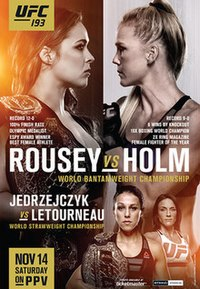 A poster or logo for UFC 193: Rousey vs. Holm.