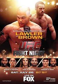 A poster or logo for UFC on Fox: Lawler vs Brown.