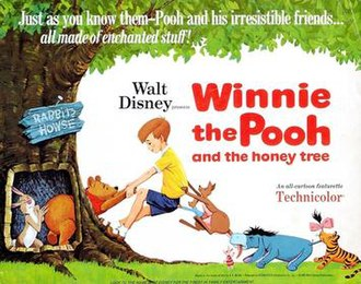 Winnie the Pooh and the Honey Tree - One of theatrical release posters (notice the different designs of Piglet and Tigger, who weren't in the film, more closely resembling their appearance in the E.H. Shepherd illustrations)