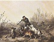 A 19th century painting depicting the conclusion of a wolf hunt