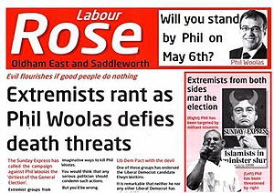 Oldham East and Saddleworth by-election, 2011 - Election leaflet by Phil Woolas used during the general election and ruled to contain deliberate false statements attacking Elwyn Watkins' character.