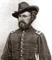 white man with moustache and beard in American civil war uniform