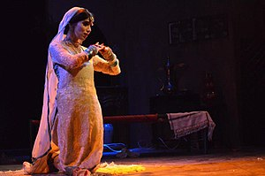 "Independent Theatre Pakistan -  Zara Peerzada as ""Saugandi"" in Manto's Hatak (Insult) directed by Azeem Hamid at Alhamra Arts Council, Lahore, in 2012"