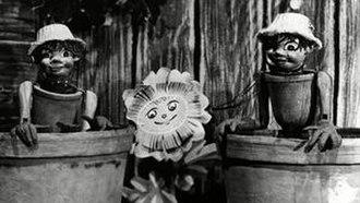 Flower Pot Men - Still from original BBC series, with Little Weed centre