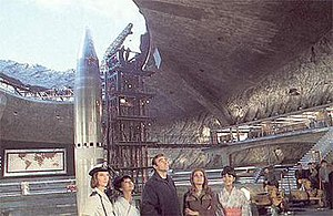 You Only Live Twice (film) - The sets of Blofeld's hideout at Pinewood Studios. From left, Lois Maxwell, Akiko Wakabayashi, Sean Connery, Karin Dor and Mie Hama examine the set during a break in filming.