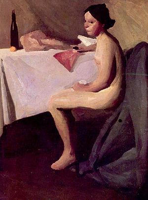 Vladimir Becić - Image: 1907, Vladimir Becic, Akt djevojke kod stola, ulje, Moderna galerija Zagreb