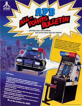 APB (1987 video game) - Promotional flyer picturing the arcade cabinet with attached seat