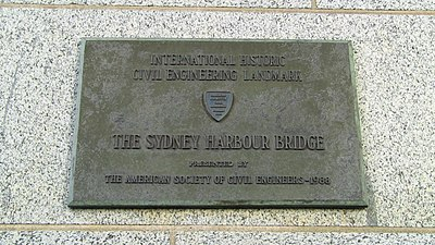 "The ""International Historic Civil Engineering Landmark"" plaque presented to Sydney Harbour Bridge by the American Society of Civil Engineers in 1988 ASCE 1988 plaque Sydney Harbour Bridge.jpg"
