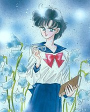 "Ami in her school uniform, drawn by Naoko Takeuchi. The ""genius"" archetype is emphasized in her character design, as seen here in the presence of books and reading glasses."