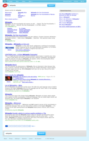 Ask.com - An Ask.com search of Wikipedia.