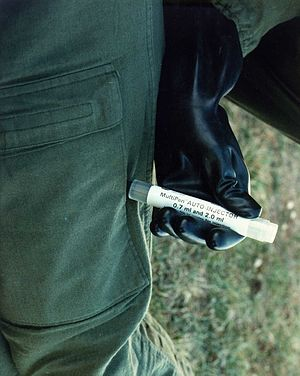Autoinjector - A military autoinjector in use