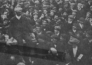 1907 Belfast Dock strike - Photograph of Royal Irish Constabulary Constable William Barrett being chaired by the striking workers through the streets of Belfast after his dismissal, August 1907