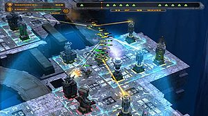 Defense Grid: The Awakening - A grinder challenge on the Veil of Ice level with health indicators on.