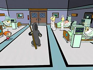 """Family Guy Video Game! - Stewie using his mind control on Death in the """"Hospital Madness Part Deux"""" level."""