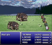 A battle scene, with four of the heroes on the right and two larger four-footed monsters on the left. The figures are displayed on a green field with mountains in the background, and the names and status of the figures is displayed in blue boxes in the bottom third of the screen.