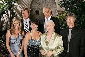 The Bold and the Beautiful - The Forrester family (l-r): Kristen (Tracy Melchior), Thorne (Winsor Harmon), Felicia (Lesli Kay), Eric (John McCook), Stephanie (Susan Flannery) and Ridge (Ronn Moss).