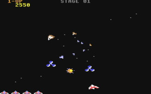 Gyruss - Screenshot from the Commodore 64 version.