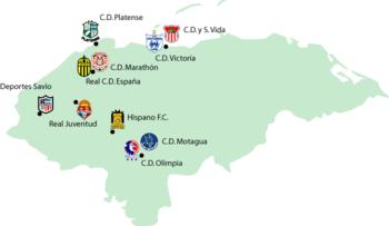 Honduran football league 2008-09 map.png