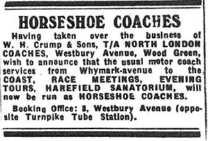 "Harry Champion - A day at the races: An advertisement from 1947 of the expanding taxi business ""Horseshoe Coaches"""