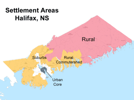 Urban, suburban, and rural divisions as defined by HRM planning department. The majority of Halifax is made up of rural areas. Hrmurbansuburbanruraldets.png