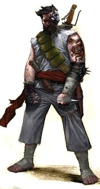 Kano (Mortal Kombat) - Vincent Proce's concept art featuring an alternative version of Kano for the original reboot game that was canceled in favor of Mortal Kombat vs. DC Universe, in which Kano was a player character