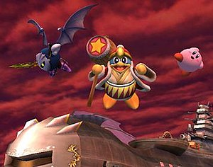 Kirby (series) - Left to right: Meta Knight, King Dedede and Kirby  in Super Smash Bros. Brawl