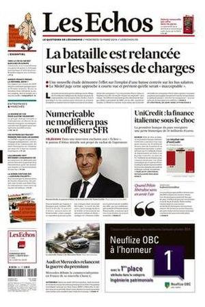 Les Échos (newspaper) - Image: Les Échos frontpage