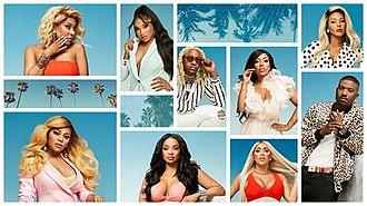Love & Hip Hop: Hollywood - The cast of the fifth season, top row: Lyrica, Brooke, A1,  K. Michelle and Moniece. bottom row: Teairra, Princess, Nikki and Ray J.