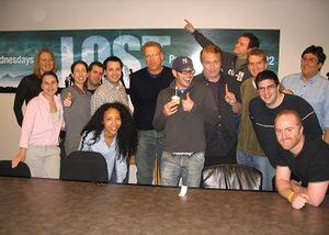 Lost (season 1) - From left to right: Dawn Kelly, Rachel Mellon, Jennifer Johnson, Fletcher, Kitsis, Monica Macer, Cuse, Lindelof, Fury, Grillo-Marxuach, Dick, Adam Horowitz, Matt Ragghianti and Dini