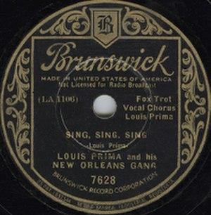 Sing, Sing, Sing (With a Swing) - Image: Louis Prima Sing Sing Sing Cover