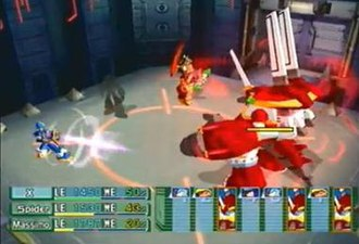 Mega Man X: Command Mission - A boss battle against Silver Horn in the game in which the player is using X, Spider and Massimo. X is attacking the boss with his buster while Spider is in his Hyper Mode which makes him barely visible.