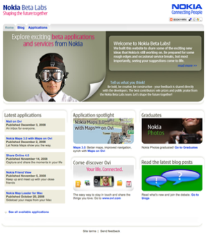 Lumia Beta Apps - Nokia Beta Labs homepage in 2008