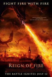 A dragon flying over the British Houses of Parliament breathing fire on the city below.