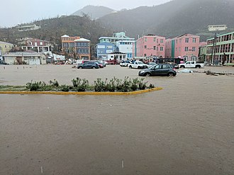 Effects of Hurricane Irma in the British Virgin Islands - The flooding of Road Town the week after Hurricane Irma.