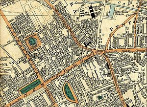 Somers Town, London - 1837 map, showing St. Pancras, Regent's Canal, Clarendon Square, Somers Town, Pentonville, Kings Cross and Euston Square
