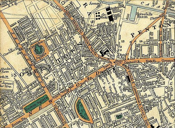 1837 map, showing St Pancras, Regent's Canal, Clarendon Square, Somers Town, Pentonville, Kings Cross and Euston Square Somers town 1837.jpg
