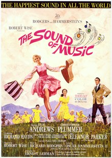 Poster with an illustration of actress Julie Andrews dancing in the mountains