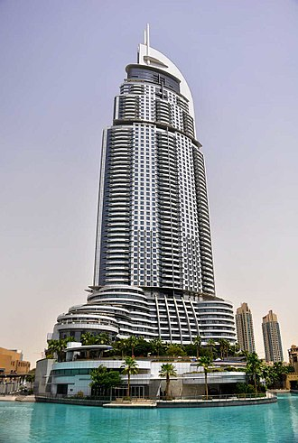 The Address Downtown Dubai - Looking up at the Address Downtown from the Dubai Fountain (2012)
