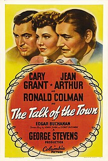 <i>The Talk of the Town</i> (1942 film) 1942 film by George Stevens