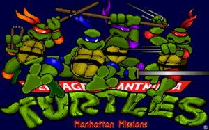 Teenage Mutant Ninja Turtles: Manhattan Missions - TMNT: Manhattan Missions title screen, based closely on artwork from the original TMNT comic book.