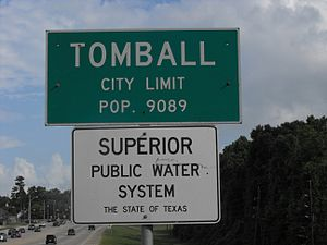 Tomball City Limt sign on SH249 Southbound at ...
