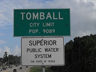 Tomball, Texas - Tomball city limit sign located at the Harris County line on SH 249, showing the city's population in 2000