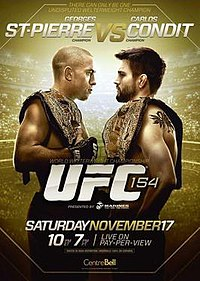 A poster or logo for UFC 154: St-Pierre vs. Condit.