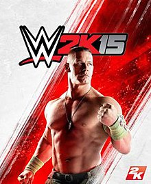 A picture of John Cena is seen on a white background with a red striped line in the middle. The game's logo appears on the top.